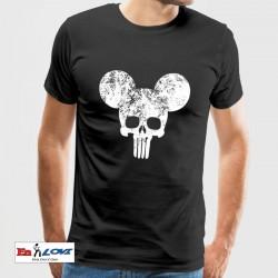 Punisher Mickey camiseta negra para hombre