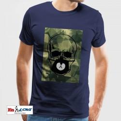 Camiseta calavera militar hombre manga corta color azul denim