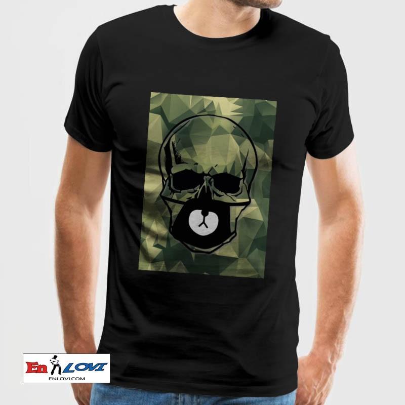 Camiseta calavera militar hombre manga corta color negro