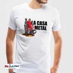 Camiseta La casa de metal para hombre color blanco manga corta