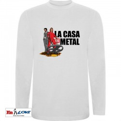 Camiseta hombre manga larga la casa de metal color blanco