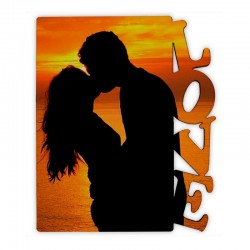 "Portafotos vertical personalizable de madera con texto ""Love"""