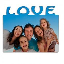 "Portafotos horizontal personalizable de madera con texto ""Love"""