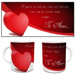 Taza amor con frase y corazón