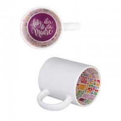 """Taza blanca personalizable con interior impreso """"Día de la Madre"""""""