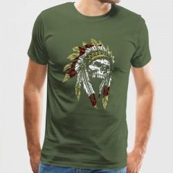 Camiseta calavera con plumas